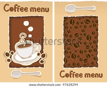 two banners with cup of coffee and grains - stock vector