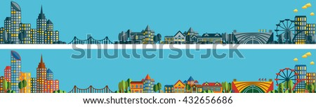 Two banners with the panorama of the city and its suburb in a flat style - stock vector