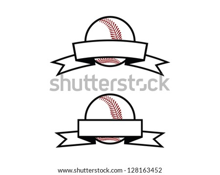 Two Baseball Emblems with Blank Banners. - stock vector