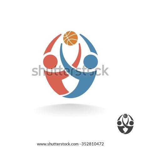 Two basketball players catch a ball. Abstract vector logo. - stock vector