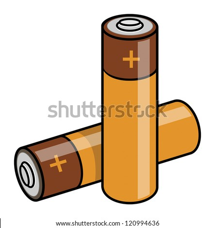 Two batteries on the white background, vector illustration - stock vector