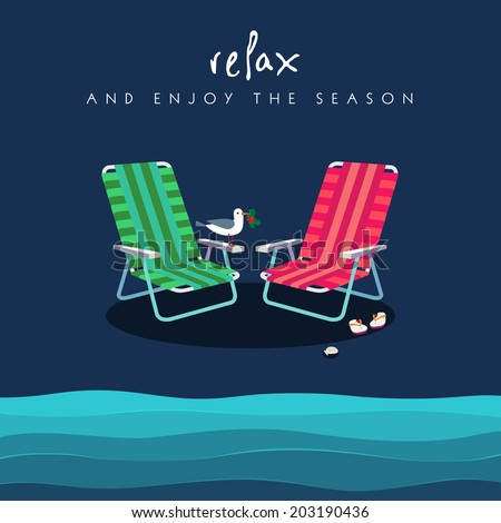 Two beach chairs in red and green colors. Seagull holds holly berry. Shell and flip flops add charm to this   setting. Enjoy Holidays Season at the beach concept. Vector EPS 10 illustration.  - stock vector