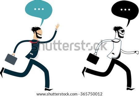 two bearded business men with suitcase and word bubble running away. isolated on white background. flat style simple vector illustration - stock vector