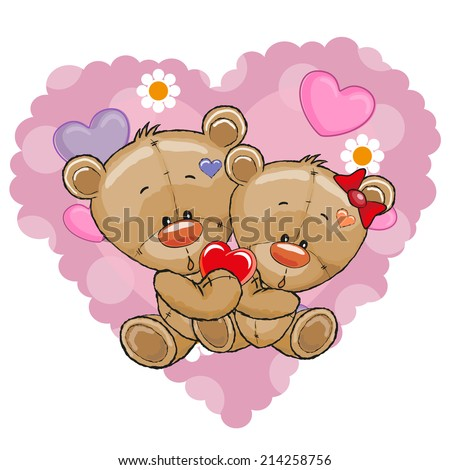 Two Bears on a background of heart