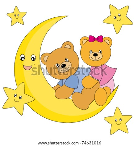 two bears sitting on the moon. Drawing isolated white background