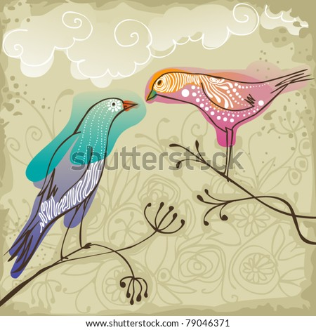 two beautiful  birds sitting on branch - stock vector