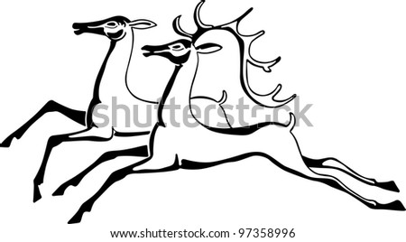 Two beautiful deers - stock vector