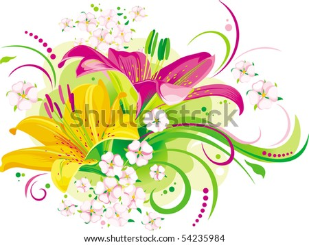 Two beautiful lilies with little rose flowers - stock vector