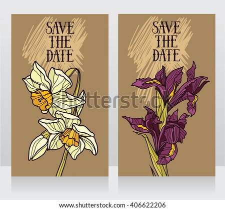 two beautiful templates for floral save the date cards, vector illustration - stock vector