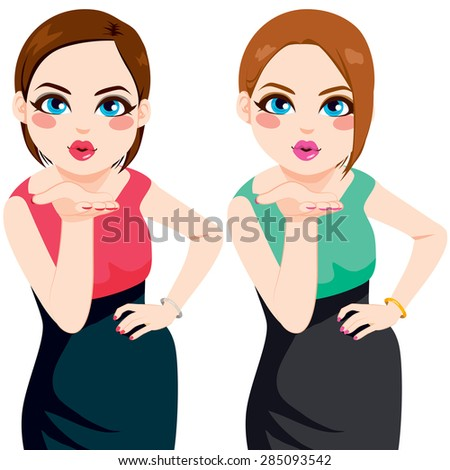 Two beautiful women blowing kiss posing with hand on hip wearing dress of different color style - stock vector
