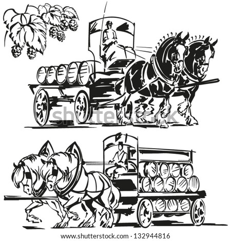 black and white covered wagon. two beer wagons and a hop branch images showing horse-drawn black white covered wagon