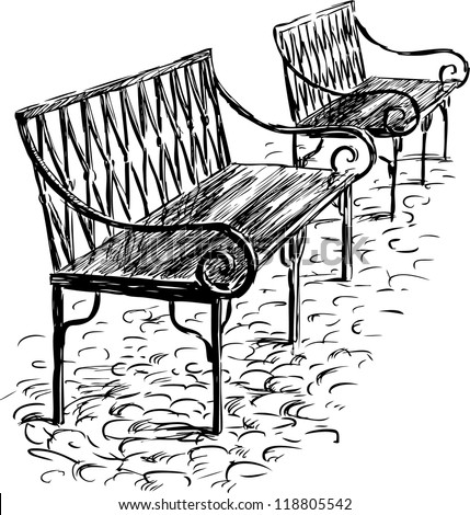 two benches - stock vector