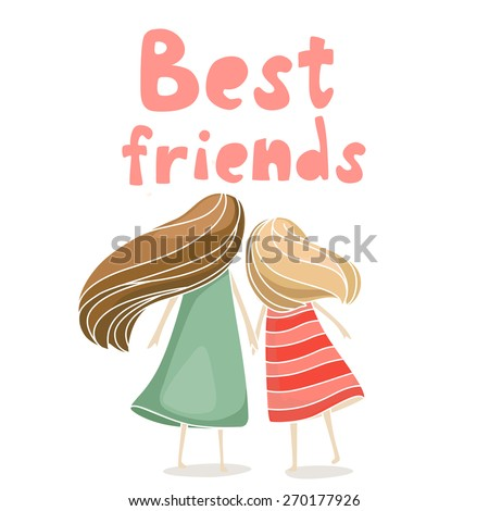 Two best friends girls holding hands. Vector illustration about friendship isolated on white - stock vector