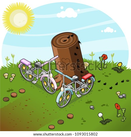 Two bicycles leaning against tree stump on summer meadow (vector illustration, isometric)