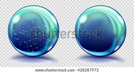 Two big blue glass spheres with air bubbles and without, and with glares and shadows. Transparency only in vector file - stock vector