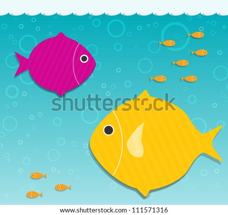two big fish in the water. vector applique - stock vector