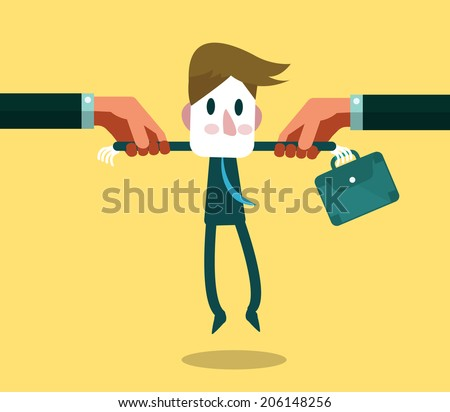Two big hand snatching a businessman. human resources concept. vector illustration - stock vector