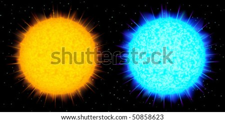 Two big realistic vector stars (yellow and blue) against black background - stock vector
