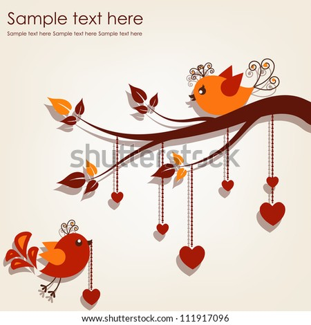 Two birds on a branch with hearts on a gray background