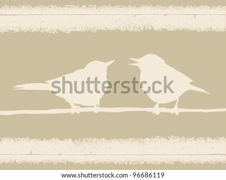 two birds on grunge background, vector illustration - stock vector