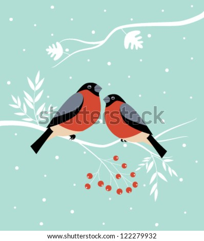 Two birds on the branch at  winter.Vector - stock vector