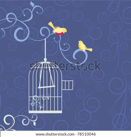 two birds on the tree brunch in love out from cage - stock vector