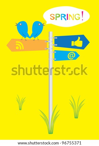 two birds sitting on social symbols and tweet spring - stock vector