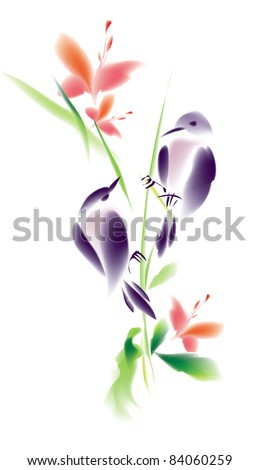 Two birds with flowers in Japanese style - stock vector
