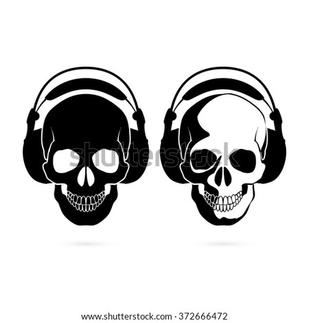 Two black and white skulls with headphone. Music fan - stock vector