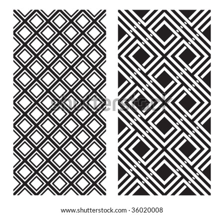 Two Black and White Vector Designs that tiles seamlessly. - stock vector