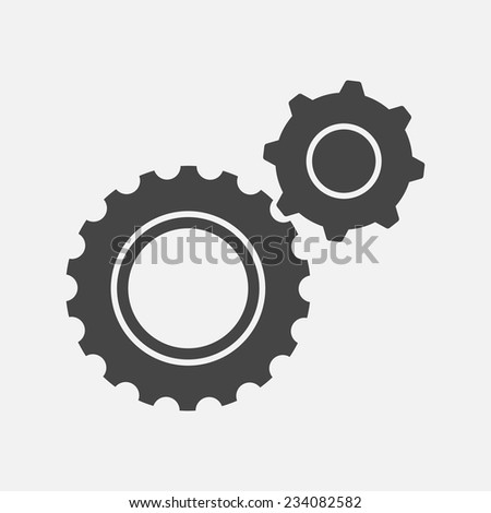 Two black cogs (gears) icons. Isolated on white background. Vector illustration, eps 8. - stock vector