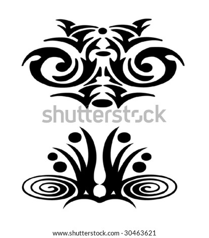 Two black design tattoo-vector - stock vector