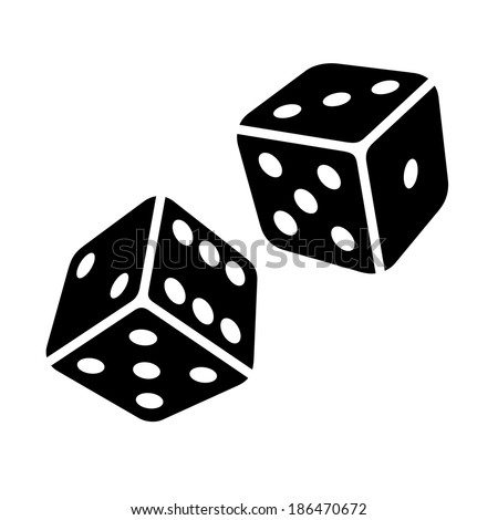Two Black Dice Cubes on White Background. Vector - stock vector