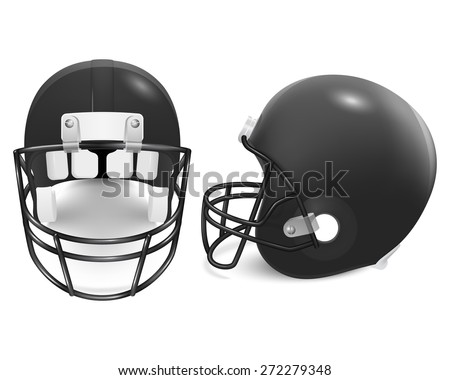 two black football helmets front side stock vector 272279348