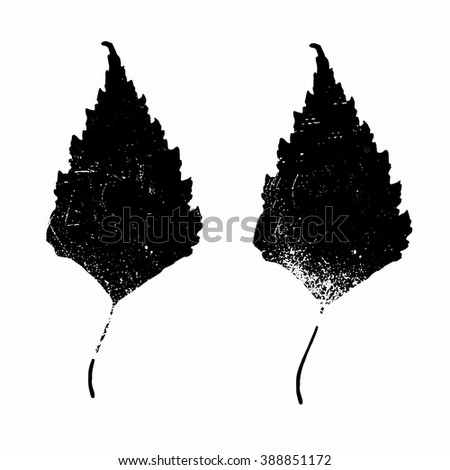Two black grunge textured leaves. Vector illustration.
