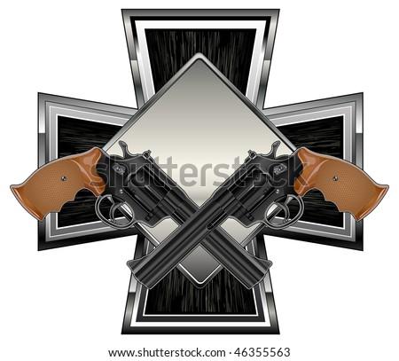 Guns Crossed Logo Two Black Guns Against Cross