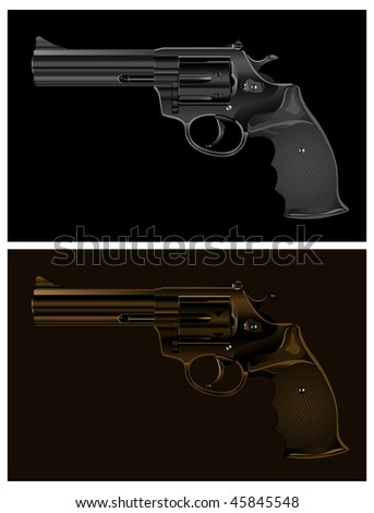 Two black guns on black background, vector illustration - stock vector