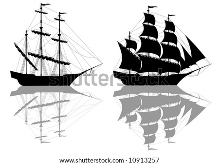 Two black old ships isolated on white - vector - stock vector
