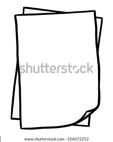 two blank paper / cartoon vector and illustration, black and white, hand drawn, sketch style, isolated on white background. - stock vector