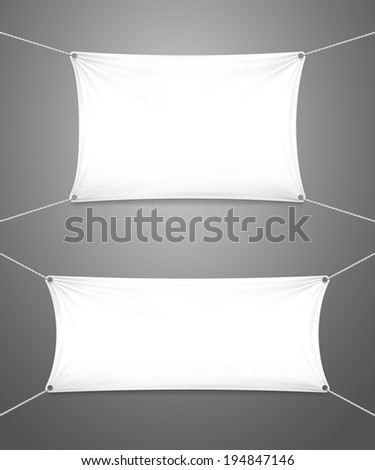 Two blank white textile banners with copy space suspended by ropes by all four corners and stretched tight hanging suspended against a grey background - stock vector