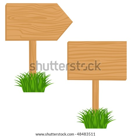 Two Blank Wooden billboards in grass. Vector objects isolated - stock vector