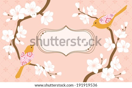 Two blossom cherry branches with flower bird and space for text.  - stock vector