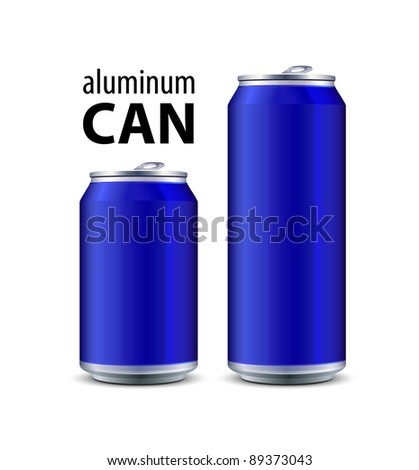 Two Blue Aluminum Can - stock vector