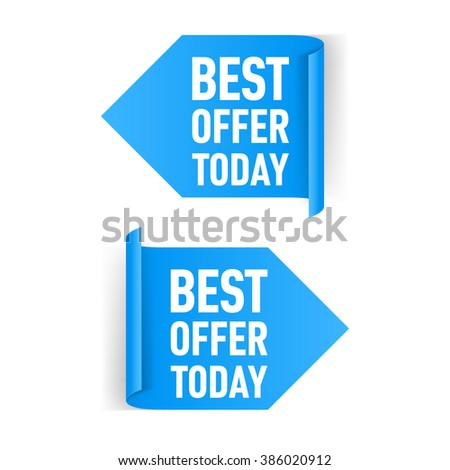 Two Blue Arrow Paper Stickers on White Background - stock vector