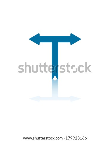 Two Blue Arrowheads Pointing Right and Left - stock vector