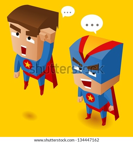 Two Blue superheroes. Vector Illustration - stock vector