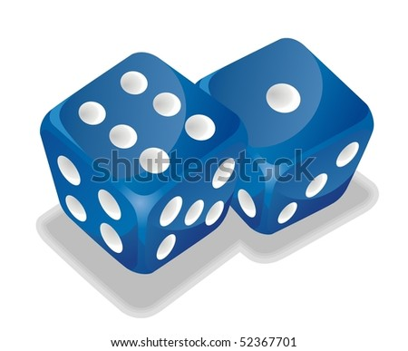 two blue vector dice - stock vector
