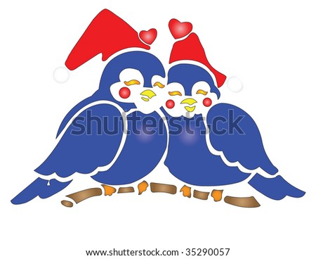 Two Bluebirds wearing Santa Hats isolated over white. - stock vector