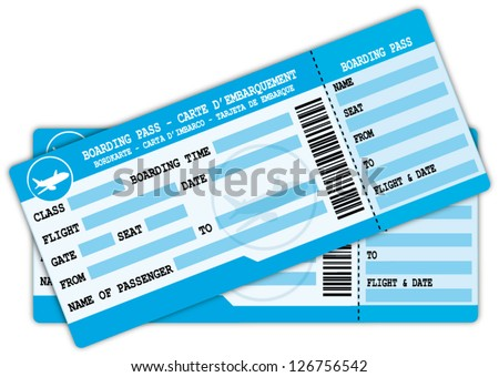 Two boarding passes. Blue flight coupons. Vector icon. - stock vector