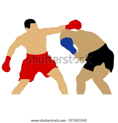 two boxers fighting - stock vector